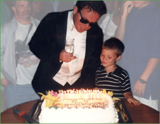 David with child and cake